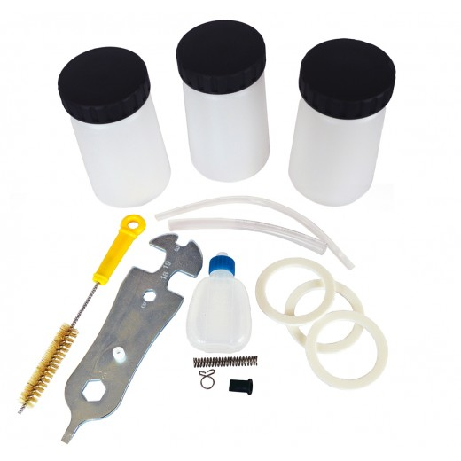 Rengørings og reservedels kit samt 3 ekstra cups